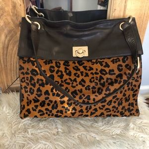 Banana Republic Man Men Calf Hair Leopard Handbag